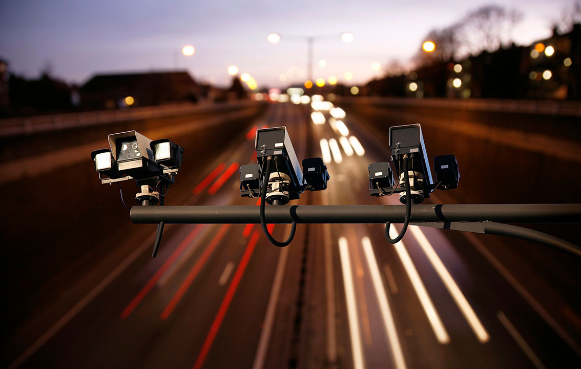 Speed cameras looking over road